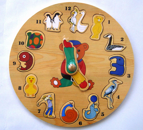 clock puzzle, wooden puzzle, toy puzzle, peg puzzle, educational toy, tell the time puzzle