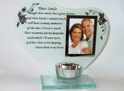 memorial photo frame, candle for loved one, funeral items